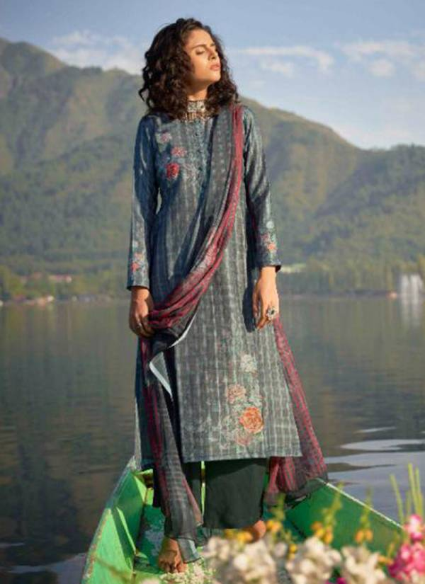 Winter Series 12001-12008 Pure Pashmina Designer Digital Print With Fancy Heavy Hand Work Suits Collection