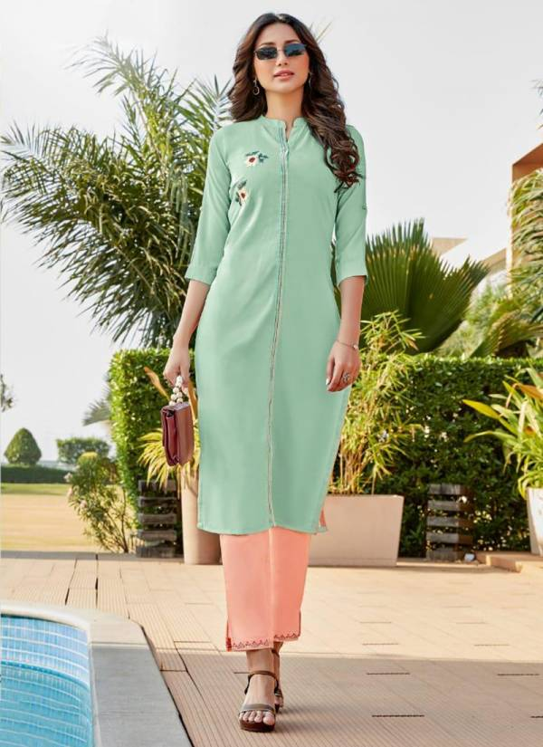 Wooglee Sparsh Heavy Rayon With Fancy Embroidery And Hand Work Kurti Bottom Collection