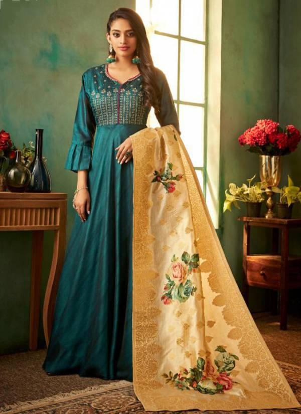 TZU Suhani Series 1001-1004 Korean Silk Long Stylish Look Kurti & Dupatta Collection