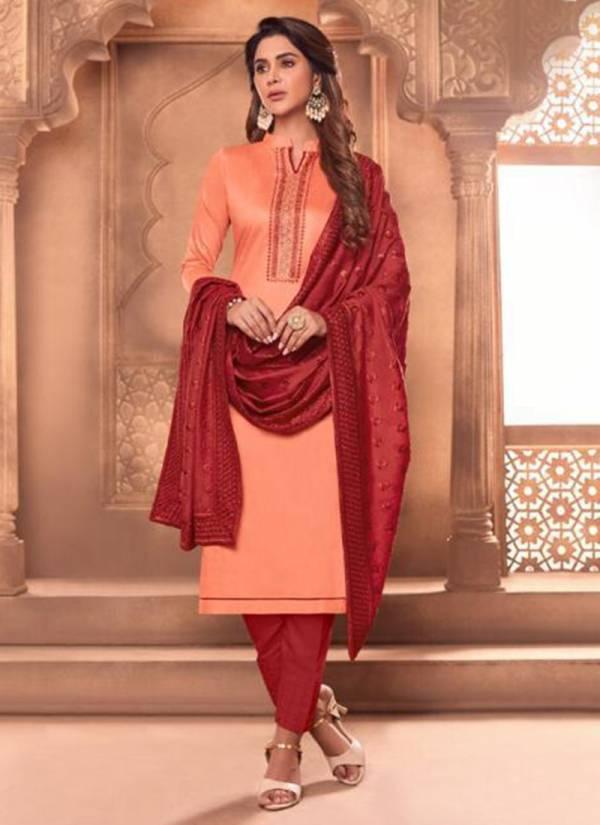 Vishnu Impex Tanisha Series 6001-6012 Tussar Cotton Slub Embroidery Work Salwar Suits Collection