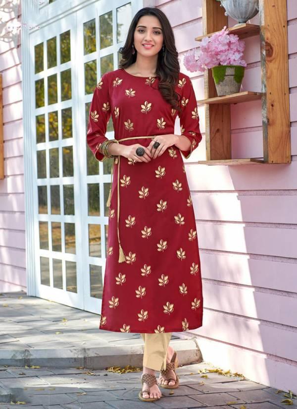 Poonam Designer Teen Pati Series 201-205 Daily Wear Malai Crepe With Foil Print Kurti Collection