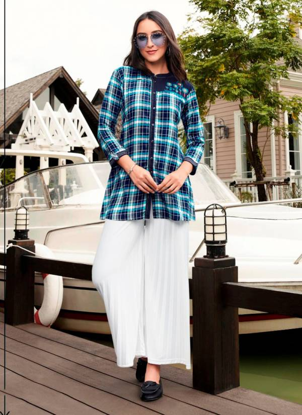 KVS Tracker Series 301-306 Rayon With Print And Embroidery Work Fancy Top Collection