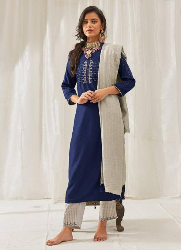 Kalki Fashion Tyohar Series 54001-54006 Pure Chinon Silk With Hand & Embroidery Work Top Bottom & Dupatta Collection