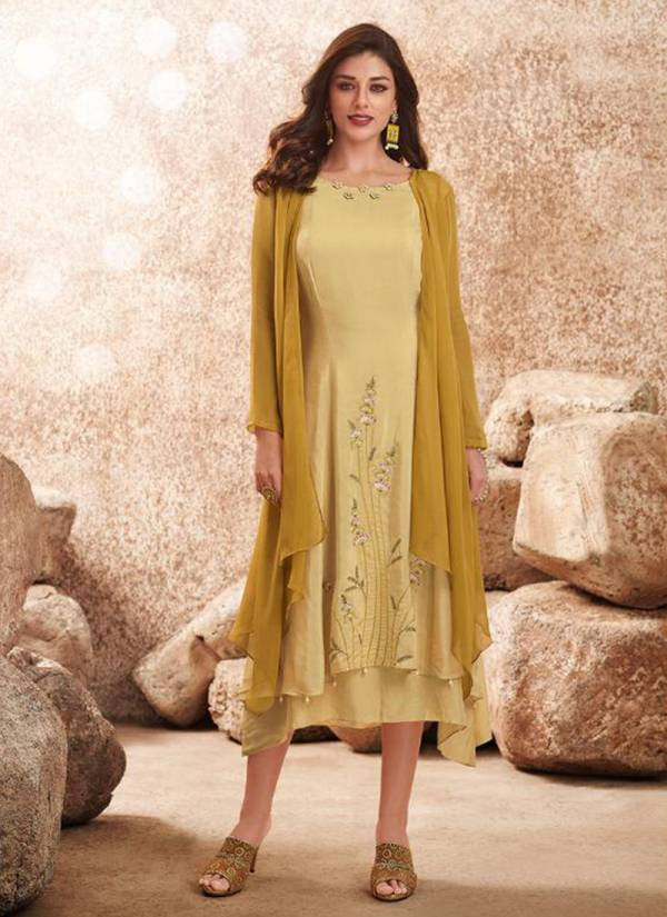 Vamika Upstylish Vol 2 Series 309-314 Pure Viscose Muslin Silk With Heavy Embroidery & Hand Work Long Fancy Kurti Collection