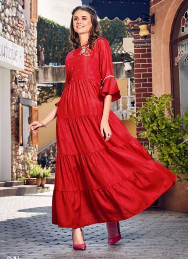 Venice Dola Silk With Lining Fancy Long Kurti Collection 4001-4005