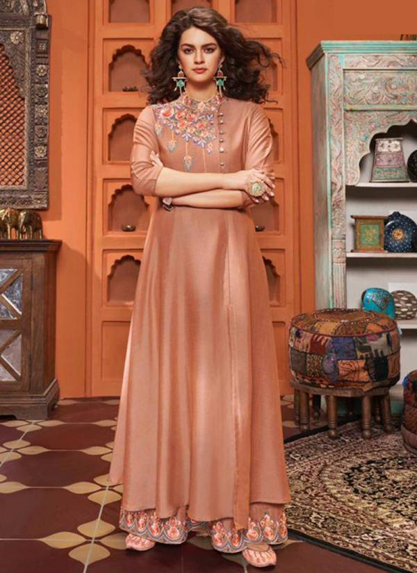Stylemax Vintage Vol 04 Two Tone Slub Cotton With Heavy Embroidery Work Party Wear Kurti With Palazzo Collection