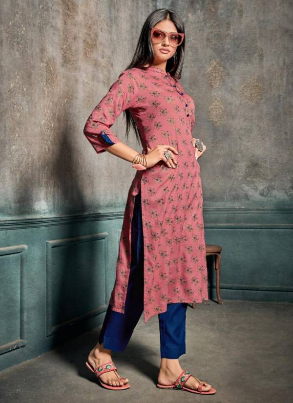Z Black Volcano Series 1001-1006 Rayon Gold Print With Khatli Work Kurti With Pant Collection