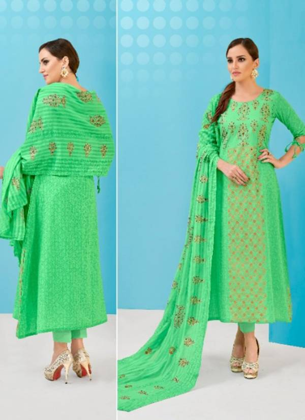 Volono Trendz Zara Vol 3 Series 3001-3004 Glacy Cotton Satin Print With Khatli Work Suits Collection