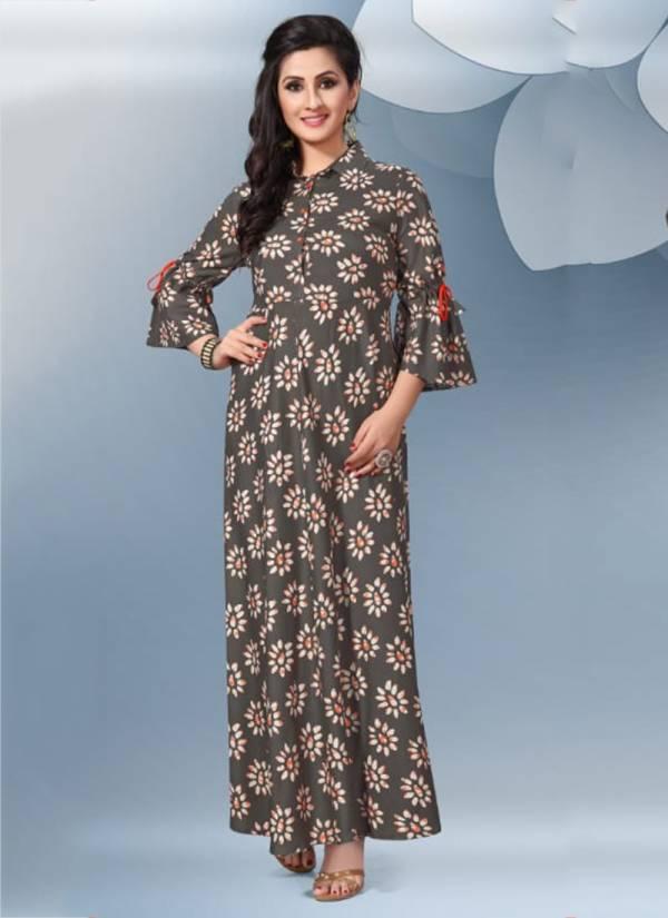 Jugnii Zia Series 101-107 Viscose Rayon Amazing Stylish Printed Long Kurti Collection
