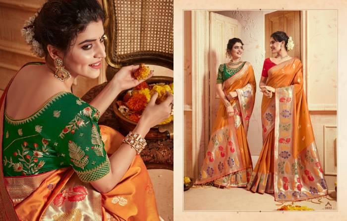 Kessi Fabric Saree Saugat Silk 3833