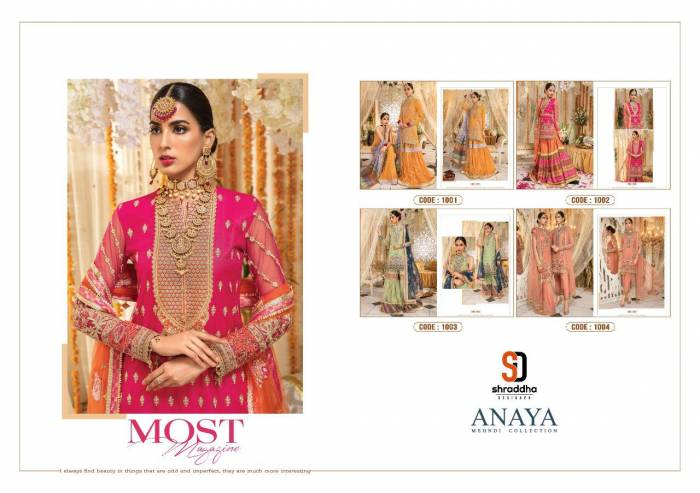 Shraddha Designer Anaya Mehndi Collection 1001-1004